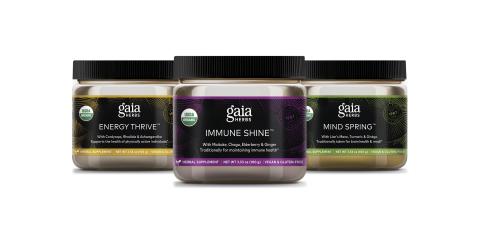 Gaia Herbs Mushrooms + Herbs Powders: Energy Thrive, Immune Shine, Mind Spring (Photo: Business Wire)