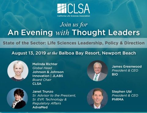 Featured Speakers for CLSA's Evening with Thought Leaders Program on August 13, 2019 in Orange County: James Greenwood, President & CEO, Biotechnology Innovation Organization (BIO); Stephen Ubl, President & CEO, Pharmaceutical Research and Manufacturers of America (PhRMA); Janet Trunzo, Sr. Advisor to the President, Sr. EVP, Technology & Regulatory Affairs, Advanced Medical Technology Association (AdvaMed); and Melinda Richter, Global Head, Johnson & Johnson Innovation | JLABS & Chair, CLSA Board of Directors (Graphic: Business Wire)