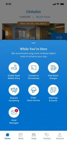 Single swipe navigation in new World of Hyatt app (Graphic: Business Wire)
