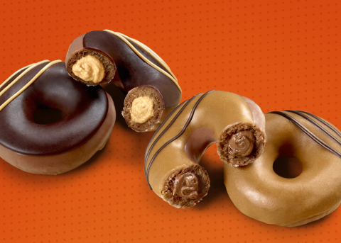 Two new doughnuts created for chocolate lovers and peanut butter lovers alike, available for a limited time beginning Monday, Aug. 5 (Photo: Business Wire)