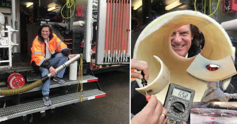 (Left) Chairman & CEO, Chuck Hansen sits on the back of one of his reengineered CCTV trucks used for electro scanning. (Right) Example tests of an exhumed lined pipe with leaks measured by Electro Scan, not easily seen by CCTV cameras. (Photo: Business Wire)