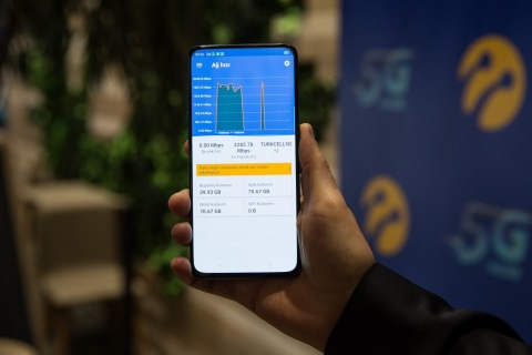 Turkcell today added another first to its track record with the world record speed of 2.283Gbps and Turkey's first 5G signal over 5G test network using a 5G-compatible smartphone. (Photo: Turkcell)