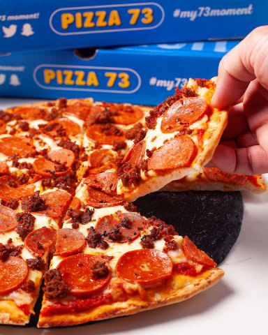 The 'Super Plant Pizza' also includes homestyle Italian tomato sauce, mozzarella cheese, and plant-based pepperoni, and is available on any crust, as well as Pizza 73's new cauliflower crust. (Photo: Business Wire)