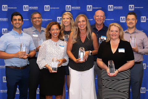 Mouser Electronics congratulates the winners of its 2019 Mouser Best-in-Class Awards. Pictured from left to right are Matthew Salmanpour, Sumit Awasthi, Renée Dill, Kelley Nall, Tammy Stine, Bob Johnson, Diane Laegeler and Matthew Baker. Not pictured: Lora McIlheran, Jay Pauer. (Photo: Business Wire)