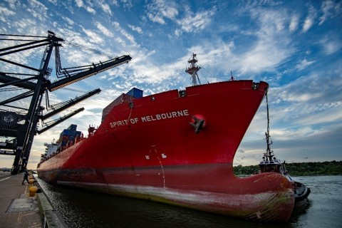 The Spirit of Melbourne called Port Houston's Bayport Container Terminal (Photo: Business Wire)