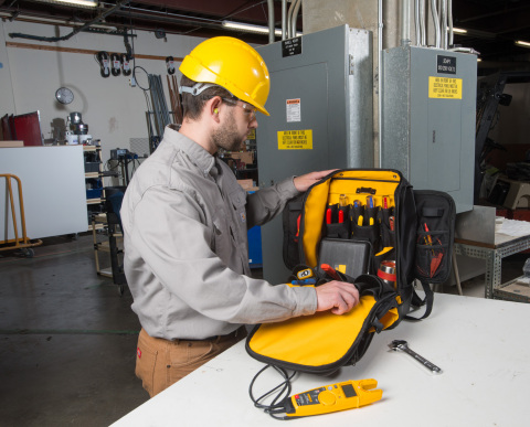 Designed specifically for DMMs, clamps, tools, and accessories, the rugged Fluke Pack30 backpack weights less than six pounds yet protects tools even in the dirtiest work site. For today's mobile field service and maintenance techs, the Pack30 offers a way to carry all the necessary tools while keeping hands free to go up ladders and use cell phones and tablets. (Photo: Business Wire)