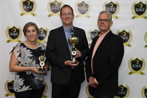 Code42 announced it won a Cyber Defense Magazine Black Unicorn Award for cybersecurity companies with a potential to achieve a $1B public or private valuation. Pictured left to right from Code42: Kristin McKenzie, Rob Juncker, SVP of Product, John Emerick, CFO. (Photo: Code42)