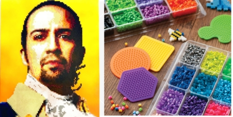 A portrait of Lin-Manuel Miranda made with Perler beads by pixel artist Kyle McCoy; Perler beads and colorful pegboards for kids crafts. (Photo: Business Wire)