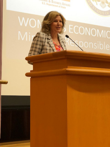 "Signet Jewelers CEO, Virginia C. Drosos, offers keynote remarks at the U.S. Department of State ""Women's Economic Empowerment: Minerals, Responsible Sourcing, and the Jewelry Supply Chain"" conference held Thursday, August 8, 2019, in Washington, D.C. (Photo: Business Wire)"