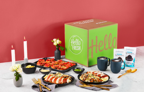 "HelloFresh Date Night Box provides everything needed to create an unforgettable ""night in"" with a special someone including fresh ingredients and step-by-step instructions needed to cook a three-course dinner for two. (Photo: Business Wire)"