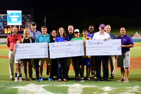 Gulf Coast Bank and Trust, Home Bank and FHLB Dallas presented $32,000 in Partnership Grant Program funds to James Storehouse Louisiana at a Baby Cakes baseball game last week. (Photo: Business Wire)