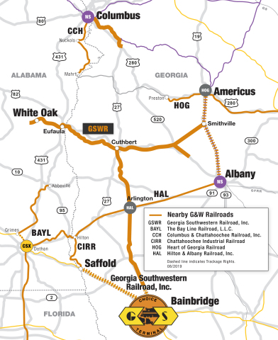 Genesee & Wyoming Inc. today announced the opening of a Choice Terminal™ bulk transfer facility on its Georgia Southwestern Railroad subsidiary in Bainbridge, Ga. (Graphic: Business Wire)