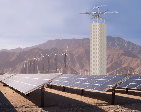 Energy Vault storage tower with PV and wind storage. (Photo: Business Wire)