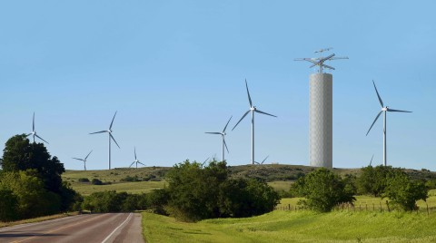 Energy Vault storage tower co-located with wind farm. (Photo: Business Wire)