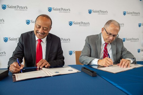 Left to right: William F. Owen Jr., M.D., FACP, Dean and Chancellor, Ross University School of Medicine and Eugene Cornacchia, Ph.D., President, Saint Peter's University