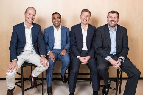 Pictured L-R: Hedde Schuitemaker, co-owner, Analytics8; Amit Bansal, Accenture's Applied Intelligence lead for Australia and New Zealand; Jean-Christophe Richard, co-owner, Analytics8; and Alexander Brown, co-owner, Analytics8. (Photo: Business Wire)