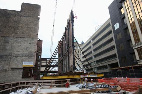 The Milwaukee Symphony Orchestra (MSO) completed a construction milestone yesterday, August 13, 2019, as it moved an original 1931 seven-story cream city brick wall 35 feet towards a city street while remaining fully intact. This is part of the MSO's $89 million conversion of Milwaukee's former Warner Grand Theater into its new concert hall, which is expected to open fall 2020. (Photo: Business Wire)