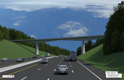 Fluor JV selected for vital I-26 expansion project near Asheville, N.C. This visualization is representative of what will be the completed Blue Ridge Parkway Bridge traveling south on I-26. (Photo: Business Wire)