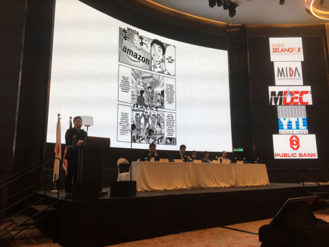 Mr. Takagi gave his speech in front of members of MAJECA and JAMECA, government officials, business leaders, and participants (Photo: Business Wire)
