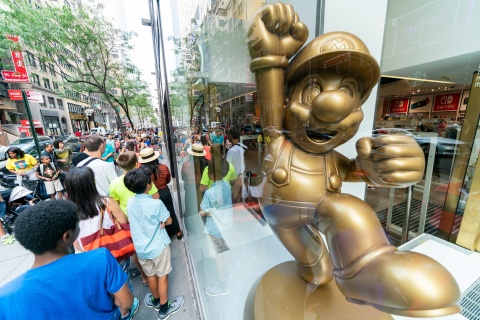 In this photo provided by Nintendo of America, families line up to celebrate the start of the back-to-school season during a special event at the Nintendo NY store in Rockefeller Plaza on Aug. 18, 2019. (Photo: Business Wire)