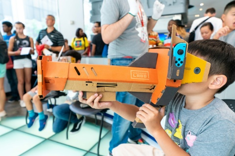 In this photo provided by Nintendo of America, families celebrate the back-to-school season with fun school-themed activities and hands-on time with Nintendo Labo: VR Kit during a special event at the Nintendo NY store in Rockefeller Plaza on Aug. 18, 2019. Nintendo Labo offers kids the opportunity to make, play and discover as they go into the new school year. Nintendo Labo: VR Kit is now available for the Nintendo Switch system. (Photo: Business Wire)