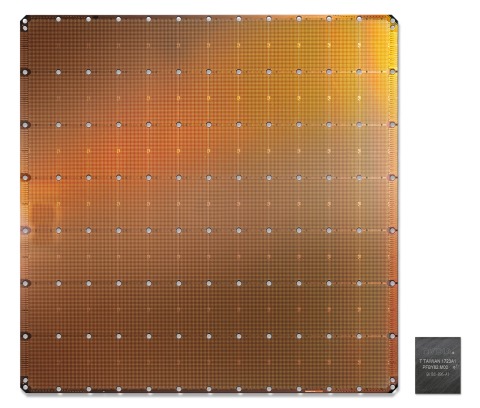 The Cerebras Wafer-Scale Engine (WSE) is the largest chip ever built. It measures 46,225 square millimeters and includes 1.2 trillion transistors. Optimized for artificial intelligence compute, the WSE is shown here for comparison alongside the largest graphics processing unit. (Photo: Business Wire)