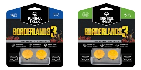 KontrolFreek®, Gearbox Software and 2K joined forces to unveil a line of Performance Thumbsticks® based on the upcoming Borderlands® 3 video game. KontrolFreek Borderlands® 3 Claptrap Performance Thumbsticks® are available for Sony PlayStation 4 and Microsoft Xbox One through KontrolFreek.com and select retailers globally like GameStop, Game UK, Argos and JB Hi-Fi for a manufacturer's suggested retail price of $17.99. (Photo: Business Wire)