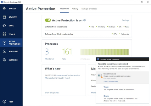 Acronis True Image is the only personal backup solution with a built in anti-malware defense that's powered by artifical intelligence. The integrated technology, called Acronis Active Protection, stops ransomware and cryptojacking attacks in real time – automatically restoring any affected files. (Graphic: Business Wire)