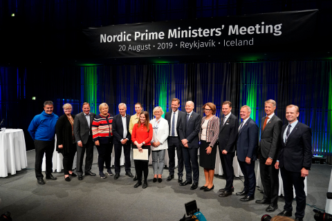 (L to R) Kim Kielsen (Premier of Greenland), Katrin Sjögren (Premier of Åland), Stefan Löfven (Prime Minister of Sweden), Erna Solberg (Prime Minister of Norway), Antti Rinne (Prime Minister of Finland), Mette Frederiksen (Prime Minister of Denmark) , Katrín Jakobsdóttir (Prime Minister of Iceland), Birna Einarsdóttir (CEO of Íslandsbanki), Johan Dennelind (CEO of Telia Company), Sigve Brekke (CEO of Telenor Group), Tone Wille (CEO of Posten Norge), Árni Oddur Þórðarson (CEO of Marel), Odd Arild Grefstad (CEO of Storebrand), Mats Granryd (Director General of GSMA), Svein Tore Holsether (CEO of Yara International). (Photo: Business Wire)