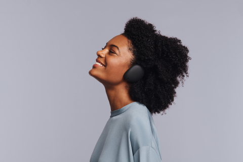 Human Headphones are the first true wireless, over-ear headphones, allowing traditional headphone quality without an over-the-head band (Photo: Business Wire)