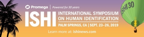 The 30th International Symposium on Human Identification (ISHI) will draw nearly 1000 law enforcement professionals and forensic DNA scientists from around the world to Palm Springs, CA September 23-26. The meeting is the largest annual scientific symposium focusing entirely on DNA forensics. (Graphic: Business Wire)