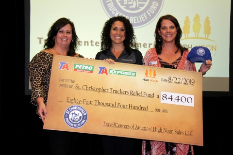 TA check presentation to SCF at 2019 GATS. From left: Shannon Currier, Director of Philanthropy and Development, SCF; Tina Arundel, Corporate Communications Manager, TravelCenters of America; Donna Kennedy, Executive Director, SCF (Photo: Business Wire)