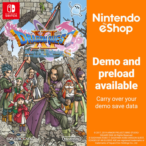 Knights, sorcerers and everyone in between can now check out a free demo for the DRAGON QUEST XI S: Echoes of an Elusive Age – Definitive Edition game in Nintendo eShop on Nintendo Switch. When the full game launches on Sept. 27, it will also come with a free Champion's Pack. Downloading the pack will give players access to helpful items and fun costumes. (Graphic: Business Wire)
