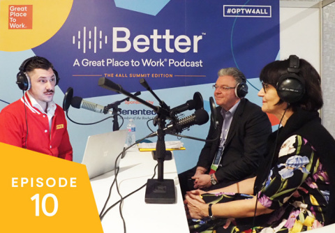 Christopher Tkaczyk chats with DHL Express's CEO John Pearson and global head of human resources Regine Buettner in the latest episode of the Better podcast by Great Place to Work. (Photo: Business Wire)