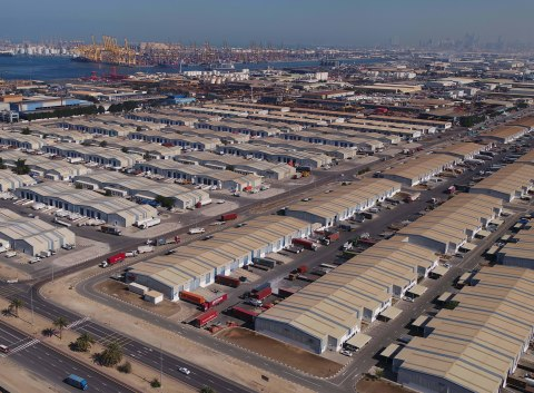 Aerial View of the Jebel Ali Free Zone and Port, operated by DP World, UAE Region. The integrated business and logistics hub serves as the pivotal base for Indian companies reaching out to export markets across an import-dependent region of 3.5 billion consumers. (Photo: AETOSWire)