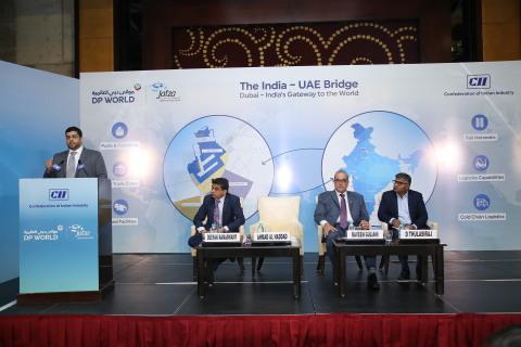 Ahmad Al Haddad, COO, Parks and Zones, DP World, UAE Region addressing the F&B trade community at the India UAE Bridge seminar organised by DP World, UAE Region in Chennai. (Photo: AETOSWire)