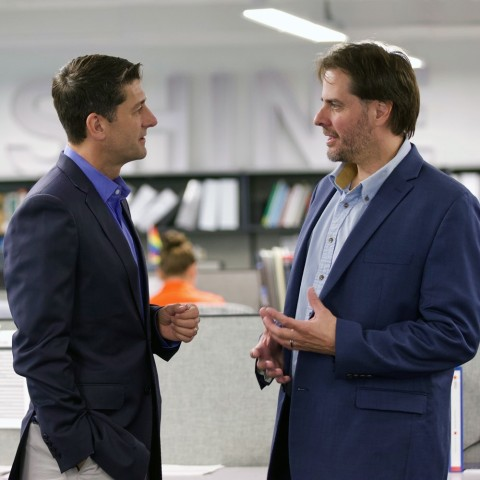 SHINE founder and CEO Greg Piefer (right) visits with former House Speaker Paul Ryan at the company's headquarters on Aug. 23, 2019. Mr. Ryan is joining SHINE's board of directors. (Photo: Business Wire)