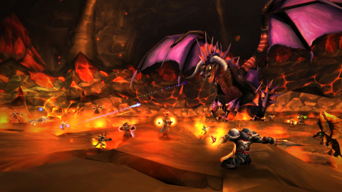 A group of players undertake a raid against the mighty dragon Onyxia in Blizzard Entertainment's World of Warcraft Classic. (Graphic: Business Wire)