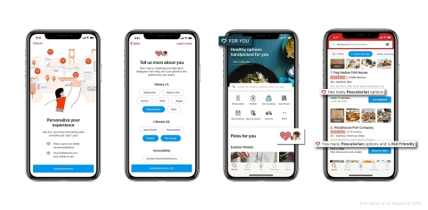 Yelp launches new personalized app experience, making Yelp more yours and saving you time. (Graphic: Business Wire)