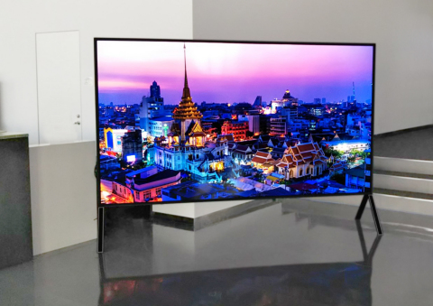 The world's largest 120-inch monitor will be displayed to showcase Sharp's 8K+5G Ecosystem. (Photo: Business Wire)