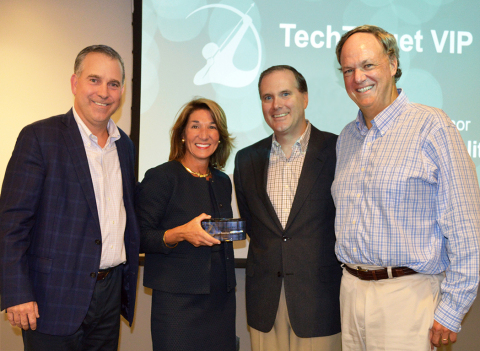 Massachusetts Lt. Governor Karyn Polito celebrates TechTarget's 20th Anniversary at the Company's headquarters in Newton, MA. Pictured (L to R): Michael Cotoia, CEO, TechTarget, Lt. Governor Polito, Don Hawk, Co-Founder and Executive Director of Product Innovation, TechTarget, Greg Strakosch, Co-Founder and Executive Chairman, TechTarget (Photo: Business Wire)