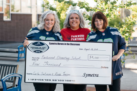 Symetra and the Seattle Seahawks kicked off the 14th season of Symetra Heroes in the Classroom® on Aug. 26 with a first for the teacher-recognition program, simultaneously honoring not one but two teachers from the same school in Shoreline, Wash. Parkwood Elementary School kindergarten teacher Carla Salmon (left) and third grade teacher Renee Iverson (right) are congratulated by Principal Ann Torres (center). Iverson and Salmon are among the 16 K–12 Puget Sound-area teachers that will be honored for educational excellence by the Symetra Heroes in the Classroom program during the 2019 NFL season. (Photo: Business Wire)