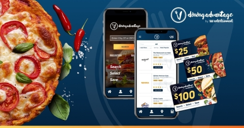 Dining Advantage® by Entertainment®'s Customer Incentive with new UX product enhancements. Simple clicks to save on dining for your clients at over 55,000+ restaurants. (Graphic: Business Wire)