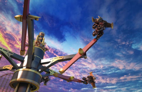 On Daredevil Dive at Six Flags Fiesta Texas in summer 2020, guests will be seated in one of six four-seater steampunk flying machines and experience barnstorming aerial aerobics through breathtaking loops, banks and dives. (Photo: Business Wire)