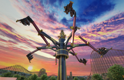 On Daredevil Dive at Six Flags Fiesta Texas in San Antonio, guests will simulate the breathtaking aerobatic maneuvers of an expert stunt pilot as they swoop and spin through numerous barrel rolls and exhilarating loops and dives high above Crackaxle Canyon. (Photo: Business Wire)
