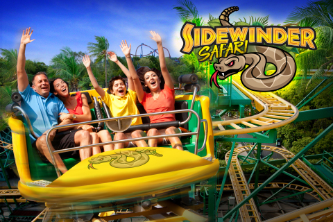 Six Flags Discovery Kingdom announces the addition of Sidewinder Safari. The unique attraction features encounters with live snakes and other reptile species in a jungle-like setting before boarding spinning coaster vehicles for an exhilarating experience families and teens alike will enjoy. (Photo: Business Wire)