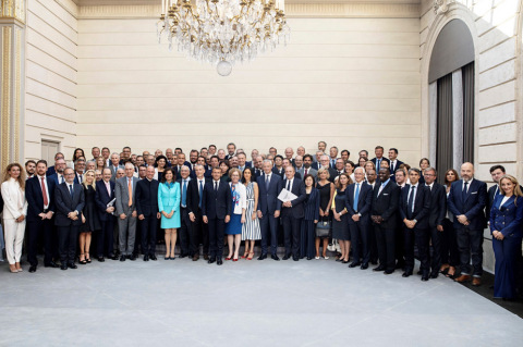Ahead of the 2019 G7 Summit, 32 major global fashion and textile companies' representatives met at the Elysee Palace in France (Photo: Business Wire)