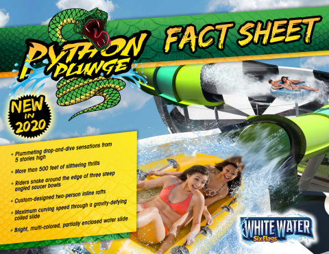 Python Plunge Fact Sheet – the Southeast's only saucer turn ride is set to debut in 2020 at Six Flags White Water, just outside of Atlanta. (Courtesy: Six Flags White Water)