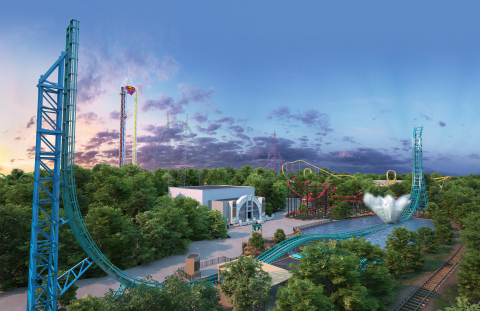 AQUAMAN: Power Wave, a first-of-its-kind in North America water coaster, has a top speed of 63 miles per hour and sends riders hurtling across more than 700 feet of track eventually ending with the ultimate massive splash down. (Photo: Business Wire)
