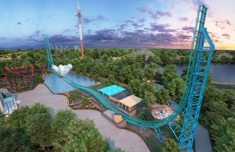 AQUAMAN: Power Wave will be the 15th coaster at Six Flags Over Texas and the first water coaster. It will launch riders backwards and forwards, straight up colossal 148 feet twin track towers and then send them plunging straight down more than 700 feet of track before hurtling at 63 miles per hours towards the ultimate massive splash down. (Photo: Business Wire)